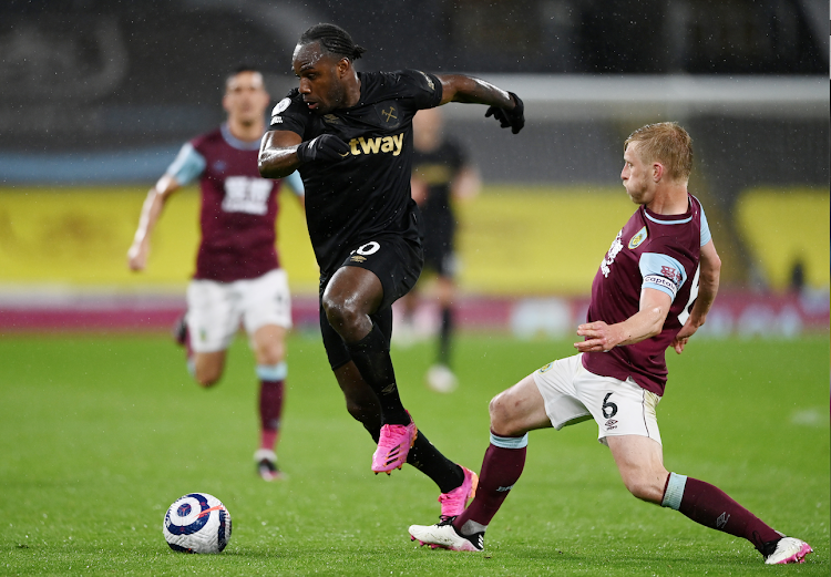 West Ham United's Michail Antonio in action with Burnley's Ben