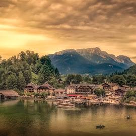 Königssee by Ole Steffensen - City,  Street & Park  Vistas ( mountains, königssee, sunset, lake, germany,  )