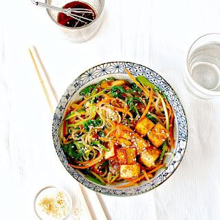 Korean Sweet Potato Noodle Stir Fry (Japchae) with Marinated and Baked Tofu Recipe