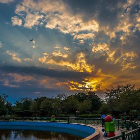 An evening in the park. by Brijesh Meena - City,  Street & Park  City Parks ( park, parks, gardens, garden, evening,  )