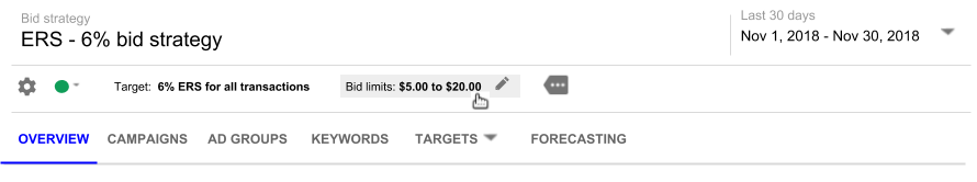 Hover on text in the bid strategy summary bar. If a pencil icon appears, you can edit the setting. Image shows finger-pointer icon on Bid limits with a pencil icon.