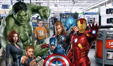 Photo: Our two year old trying to fit in with the Avengers.