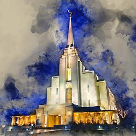 Rexburg Idaho LDS Temple by Valerie Aebischer - Digital Art Places ( mormon temple, lds temple, temple, rexburg id lds temple, mormon, religion )