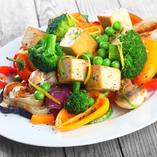 Smoked Tofu and Grilled Vegetable Salad.