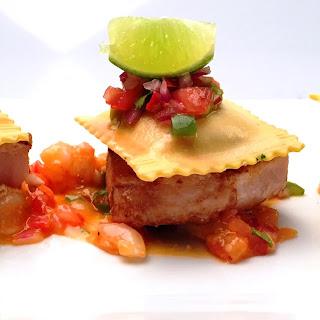 Fiesta Shrimp Ravioli with Mahi Mahi Marinated in Soltado Tequila with Chipotle Shrimp Sauce.
