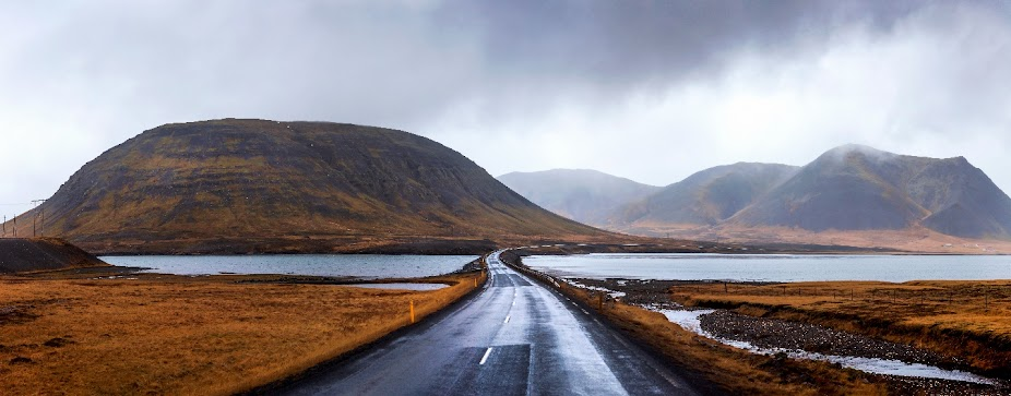 scenic icelandic road in snaefellsnes peninsula of iceland