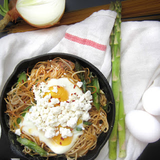 Brunch Time Asparagus Spaghetti with Baked Eggs