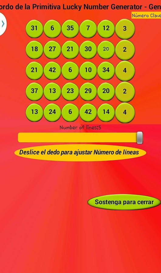 El Gordo Numbers Generator- screenshot