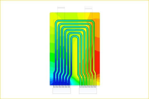 ANSYS - Распределение температуры в охлаждающих каналах литий-ионного аккумулятора