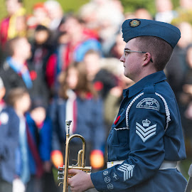 The Bugler by Garry Dosa - People Street & Candids ( remembrance day, beret, instrument, uniforms, people, celebration, blue, outdoors, cadet, bugle, ceremony, solemn, memorial )