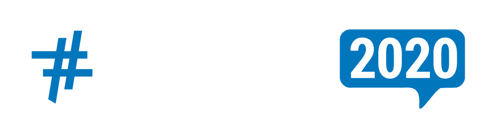 logo including blue hashtag with letters GSMCON in white and blue graphic containing 2020 white letters