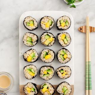 Avocado & Mango Brown Rice Sushi.