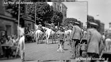 Era una limpieza artesana, con escasos recursos mecánicos. Barrenderos quitando las boñigas de los caballos de la Guardia Civil en el Paseo en 1963.