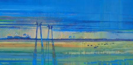 "Photo: ""Jersey Island Twilight"", acrylic on canvas, 12"" x 24"", © Nancy Roberts"