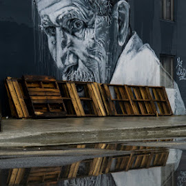 Reflection by VAM Photography - City,  Street & Park  Street Scenes ( street art, places, reflection, street, brooklyn )
