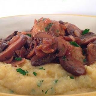 Chicken Meatball Marsala over Creamy Polenta