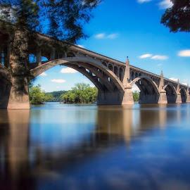slow flow by Deborah Felmey - Buildings & Architecture Bridges & Suspended Structures ( blue, waterscape, bridge, bridges, long exposure, water, landscape,  )