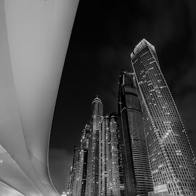 by Péter Mocsonoky - Buildings & Architecture Other Exteriors ( skyline, skyscrapers, exterior, street, travel, cityscape, business, modern, sky, skyscraper, buildings, united arab emirates, evening, downtown, clouds, office, structure, jumeirah, tourism, landmark, tower, new, uae, night, view, bridge, big )