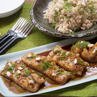 Honey-Garlic Cod with Sautéed Bok Choy & Coconut Rice.