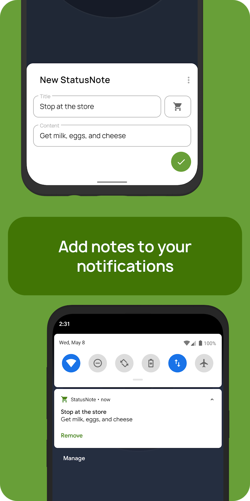 StatusNote 2 - Notes in Notifications Screenshot 0