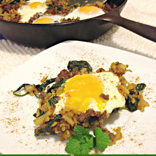 Spinach & Sausage Marsala Hash with Eggs