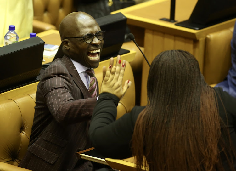 Minister of Finance Malusi Gigaba, who will be centre stage when he delivers the Budget speech on Wednesday, enjoys a light-hearted moment in parliament on Tuesday.