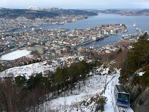 Photo: Funiculaire du Mont Fløyen à Bergen