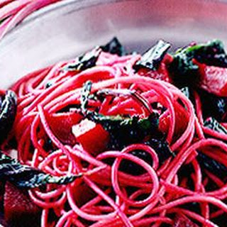 Spaghetti with Beets and Greens.
