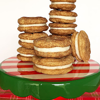 Snickerdoodle Cookie Sandwiches with Eggnog Buttercream Filling