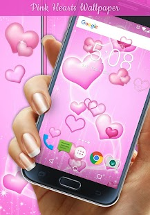 Pink Hearts Live Wallpaper - náhled