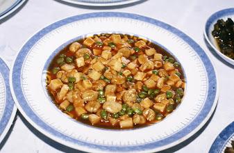 Photo: 11057 鎮江/浮王斎/料理/蕃茄蝦仁/むきエビのトマトソース煮。エビは生麩でつくる。