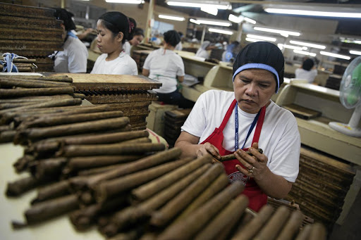 An old tradition: Workers roll cigars at the Tabacalera Incorporada cigar factory in the Carmona area of Cavite, the Philippines. Picture: BLOOMBERG