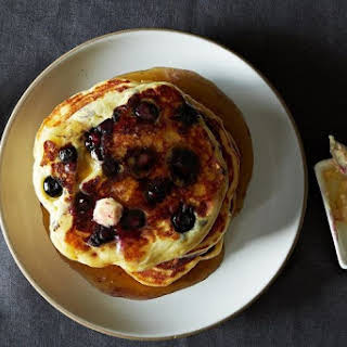 Lemony Cream Cheese Pancakes with Blueberries.