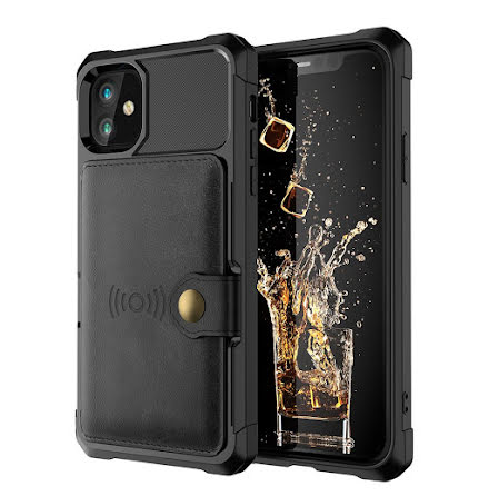 iPhone 12 - Praktiskt Genomtänkt Skal med Korthållare