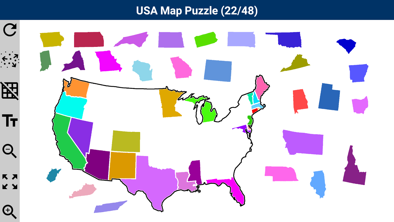usa map puzzle android apps on google play. Black Bedroom Furniture Sets. Home Design Ideas