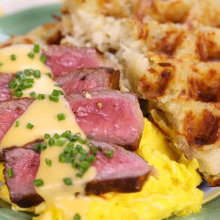 Steak and Eggs with Hash Brown Waffles.