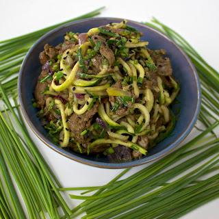 Kholrabi (or Zucchini) Noodles With Steak.