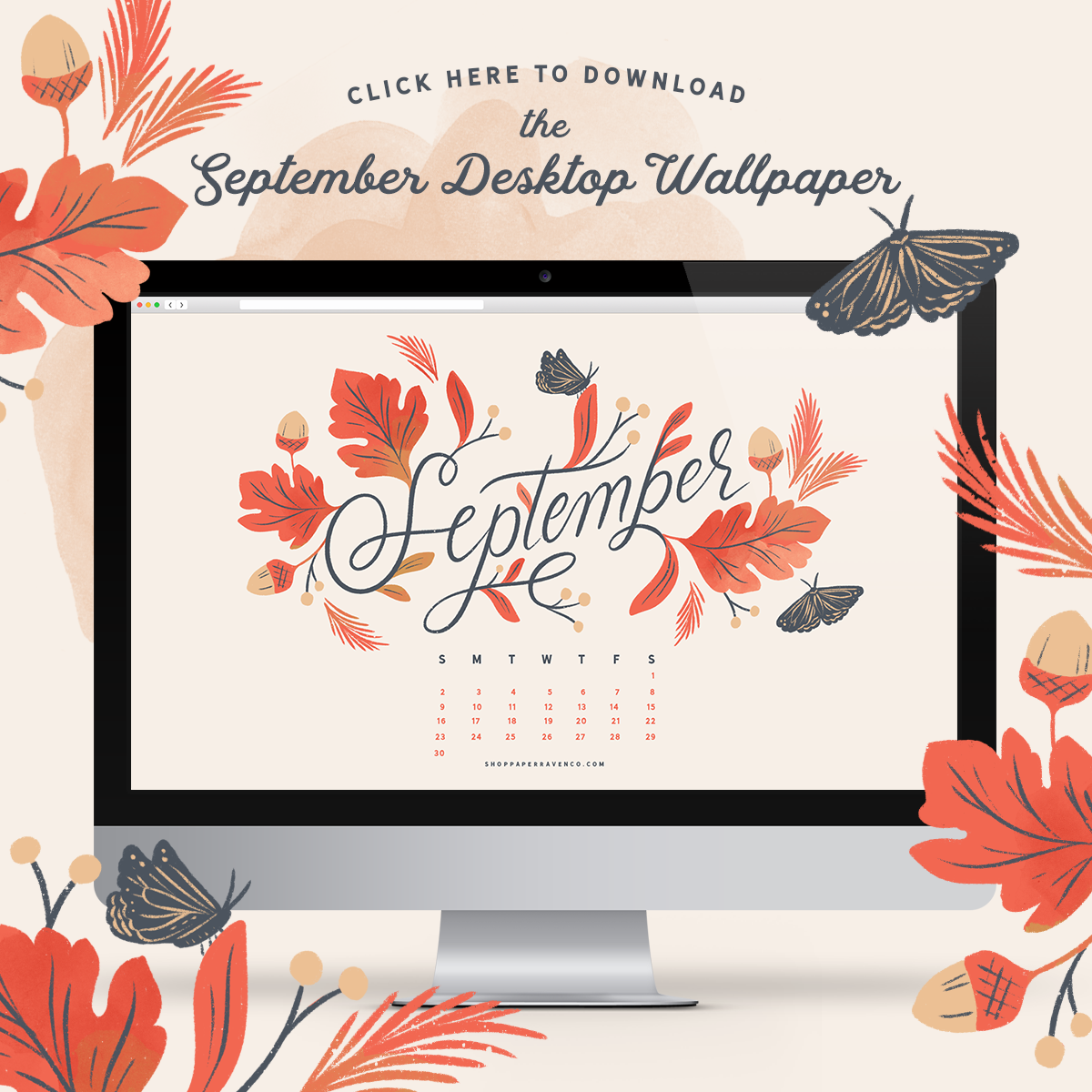 Paper Raven Co. September 2018 Desktop Wallpaper - www.ShopPaperRavenCo.com