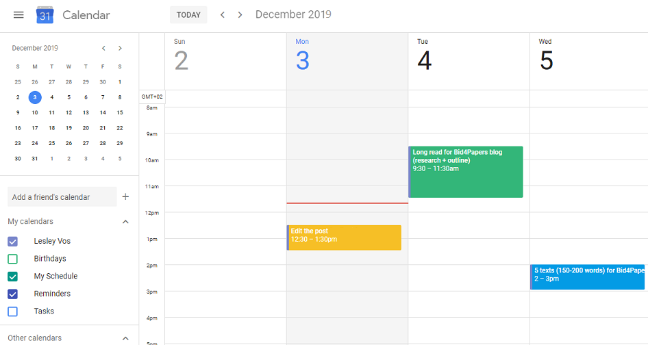 Screenshot of Google Calendar for controlling your outsourced SEO writer