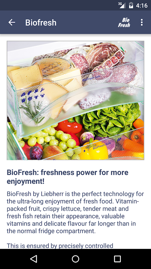 Liebherr BioFresh- screenshot