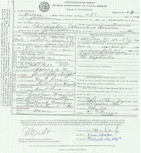 Photo: Christopher Columbus Davis Death Certificate reflecting Bulley Boatright as Father
