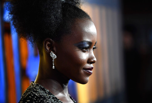Lupita Nyong'o on the red carpet of the European Premiere of 'Black Panther' on 8 February, 2018 in London