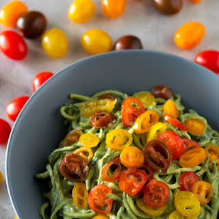 Zucchini Noodles with Avocado Sauce.