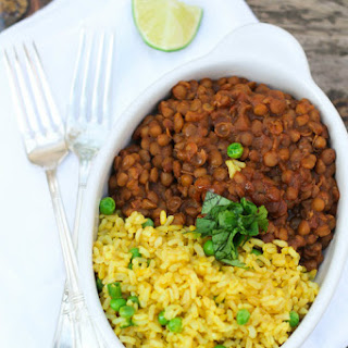 Lentil Chili and Burmese Rice with Peas.