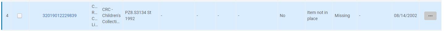 Screenshot of Alma item showing missing status