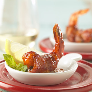 Barbecue Bacon-wrapped Shrimp With Basil Stuffing.