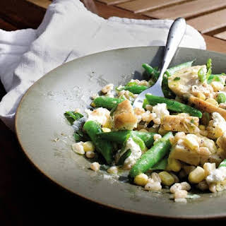 Chicken, Green Bean, Corn, and Farro Salad with Goat Cheese.
