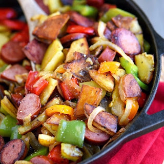 Kielbasa, Peppers, and Potato Hash Skillet.