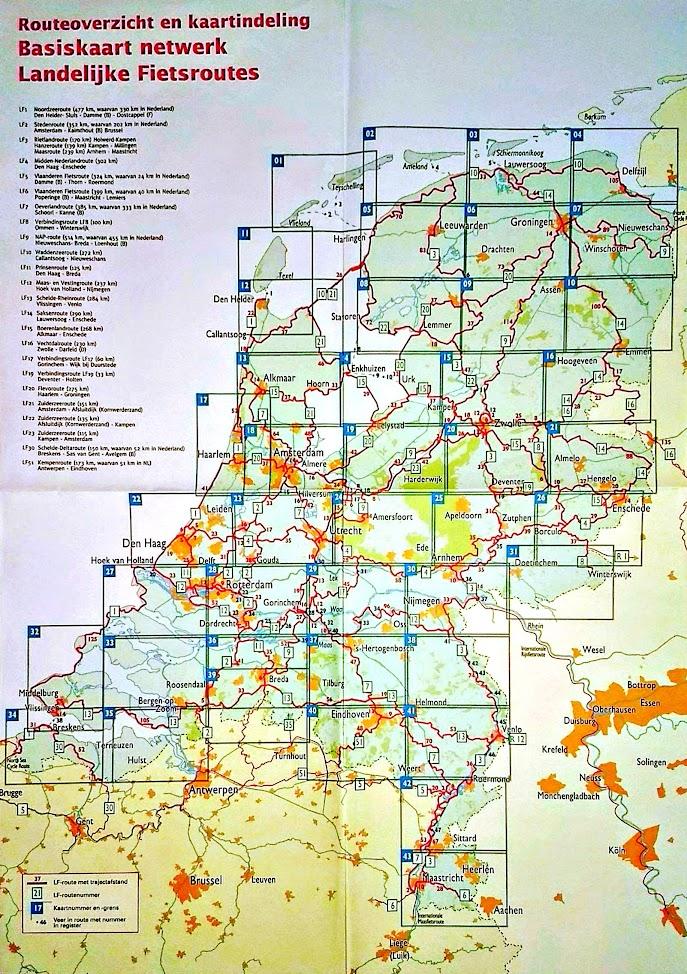 Carte d'assemblage de l'atlas des véloroutes néerlandaises Basiskaart