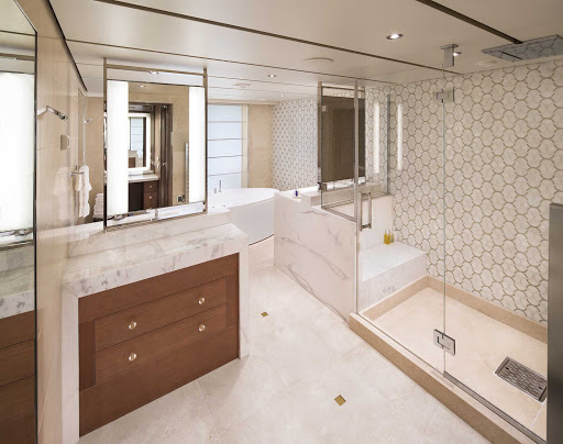 koningsdam-Pinnacle-Suite-Bath-CatPS.jpg - A look at the well-appointed bathroom in a Pinnacle Suite aboard Holland America's Koningsdam.
